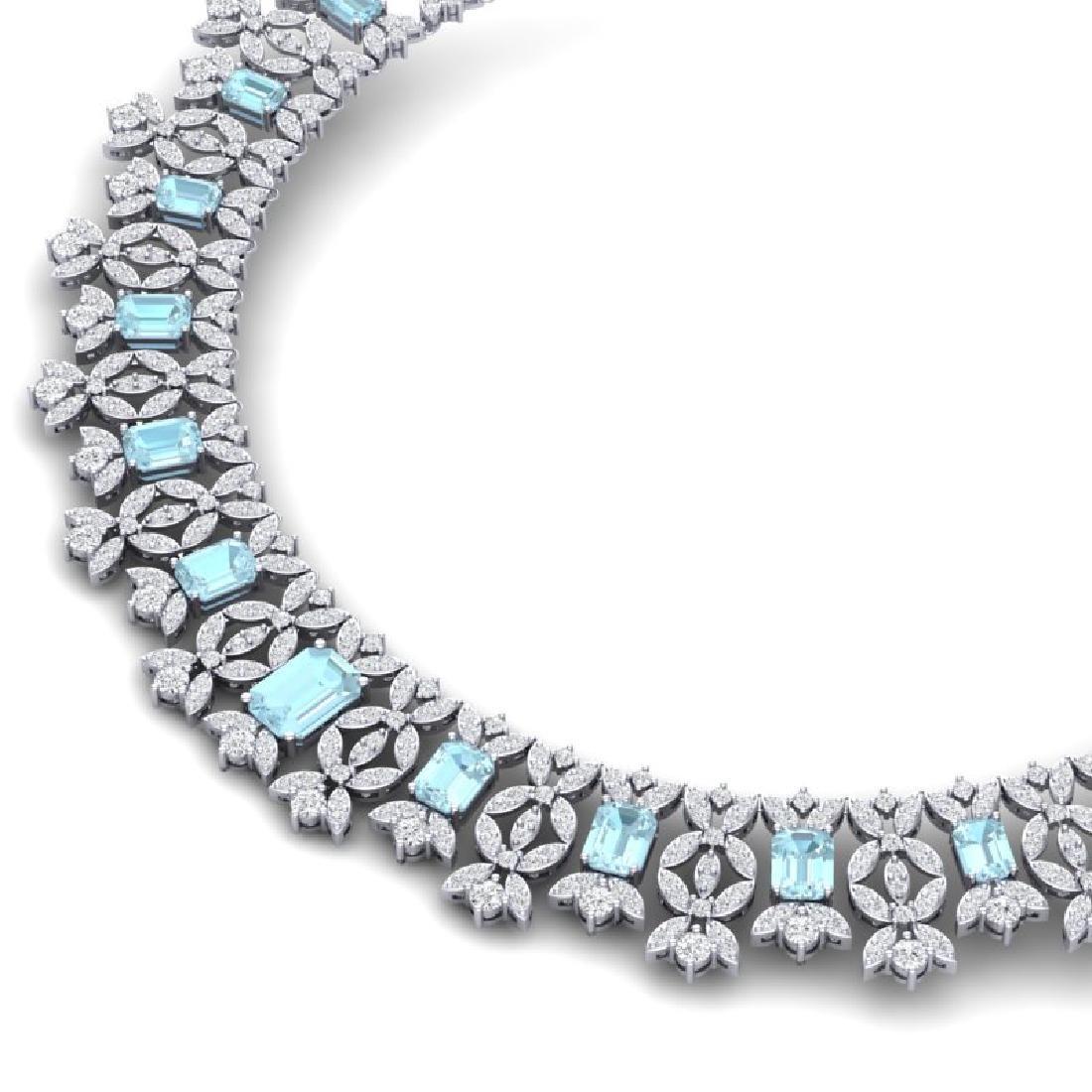 53.14 CTW Royalty Sky Topaz & VS Diamond Necklace 18K - 2