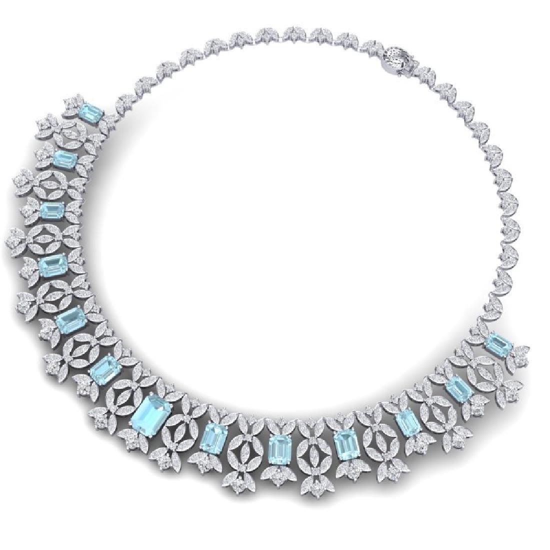 53.14 CTW Royalty Sky Topaz & VS Diamond Necklace 18K - 3