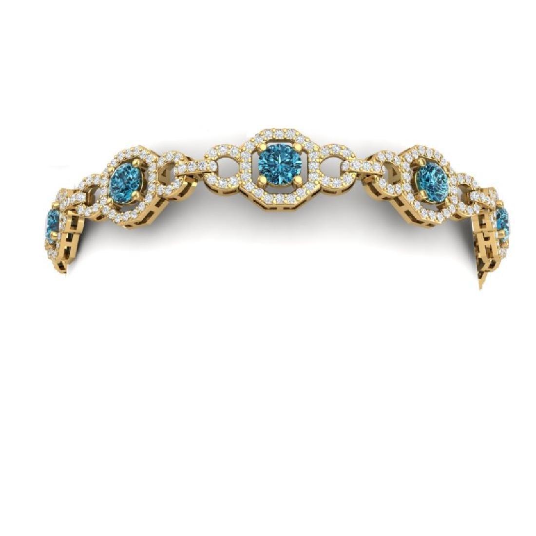 12 CTW SI/I Intense Blue And White Diamond Bracelet 18K - 2