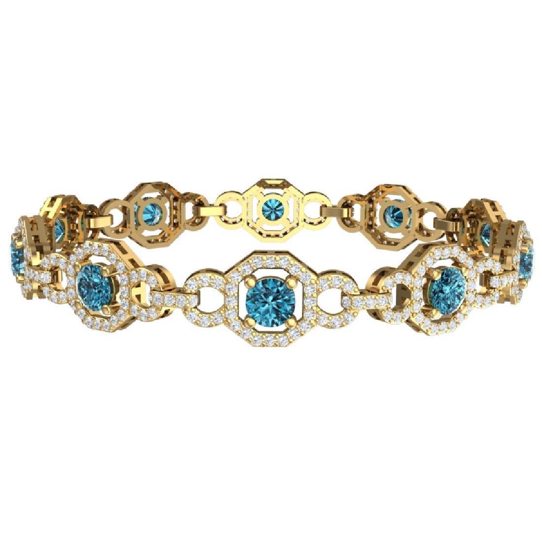 12 CTW SI/I Intense Blue And White Diamond Bracelet 18K - 3