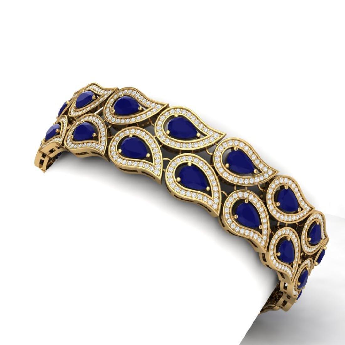 20.1 CTW Royalty Sapphire & VS Diamond Bracelet 18K