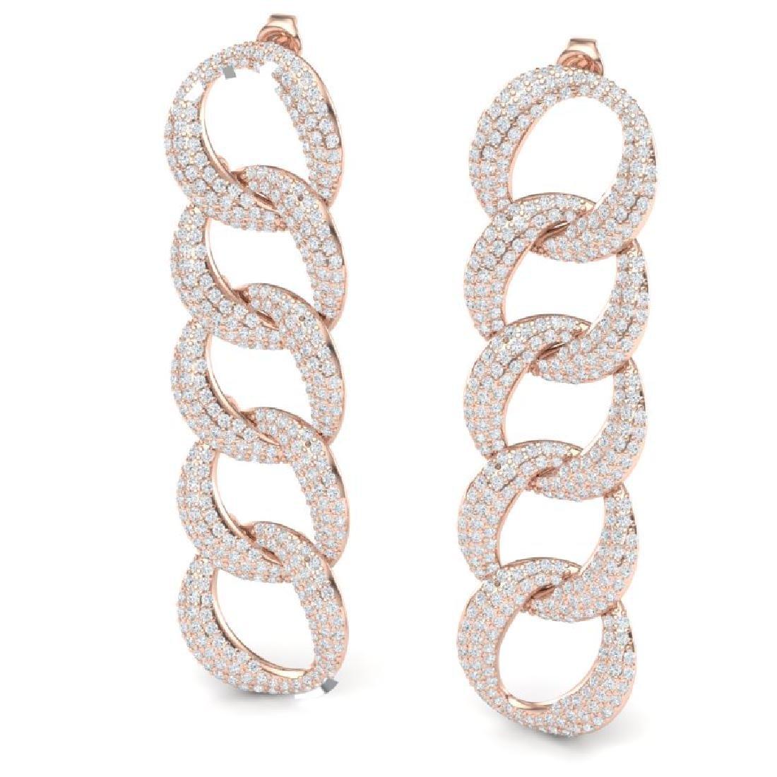 5 CTW Certified VS/SI Diamond Earrings 18K Rose Gold - 2