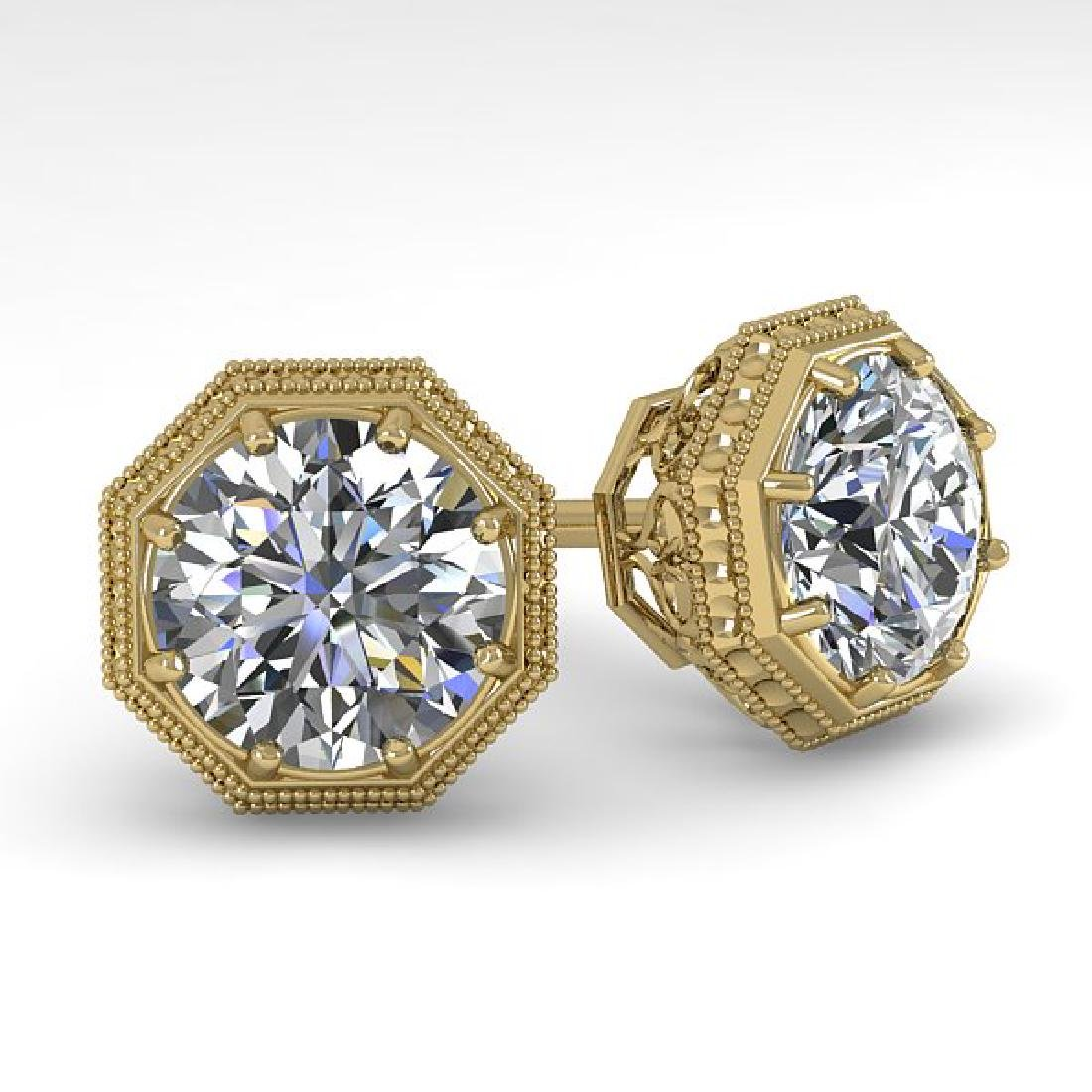 2 CTW VS/SI Diamond Stud Solitaire Earrings 18K Yellow