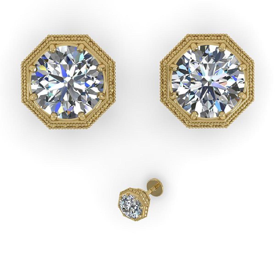 2 CTW VS/SI Diamond Stud Solitaire Earrings 18K Yellow - 2