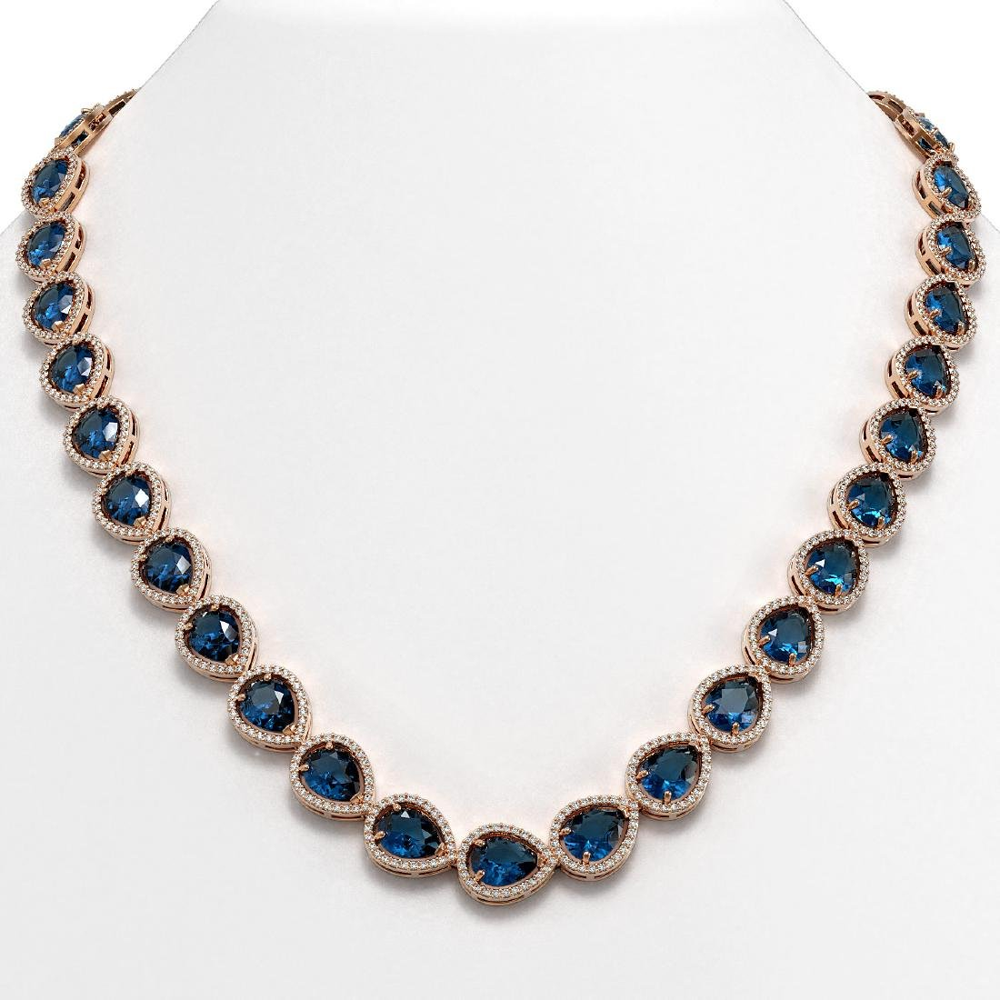 44.8 CTW London Topaz & Diamond Halo Necklace 10K Rose
