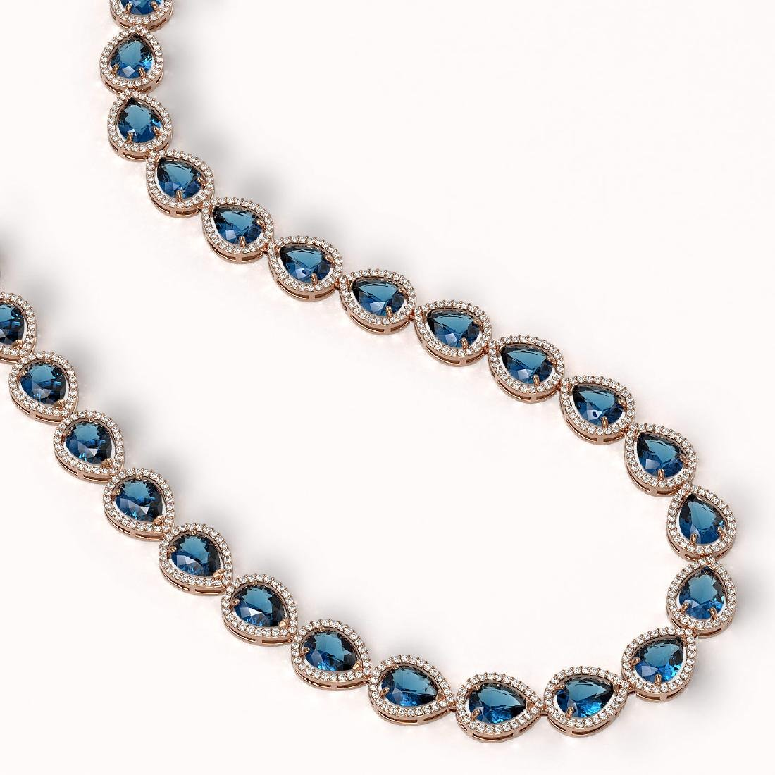 44.8 CTW London Topaz & Diamond Halo Necklace 10K Rose - 2
