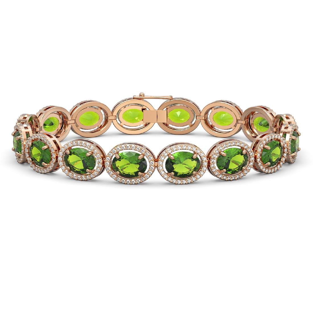 28.08 CTW Peridot & Diamond Halo Bracelet 10K Rose Gold