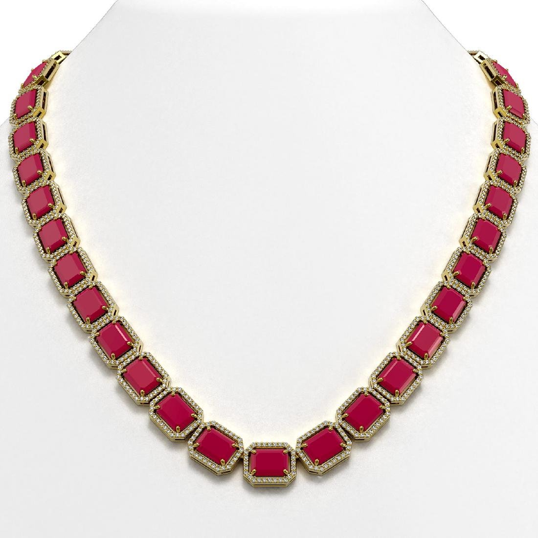 84.94 CTW Ruby & Diamond Halo Necklace 10K Yellow Gold