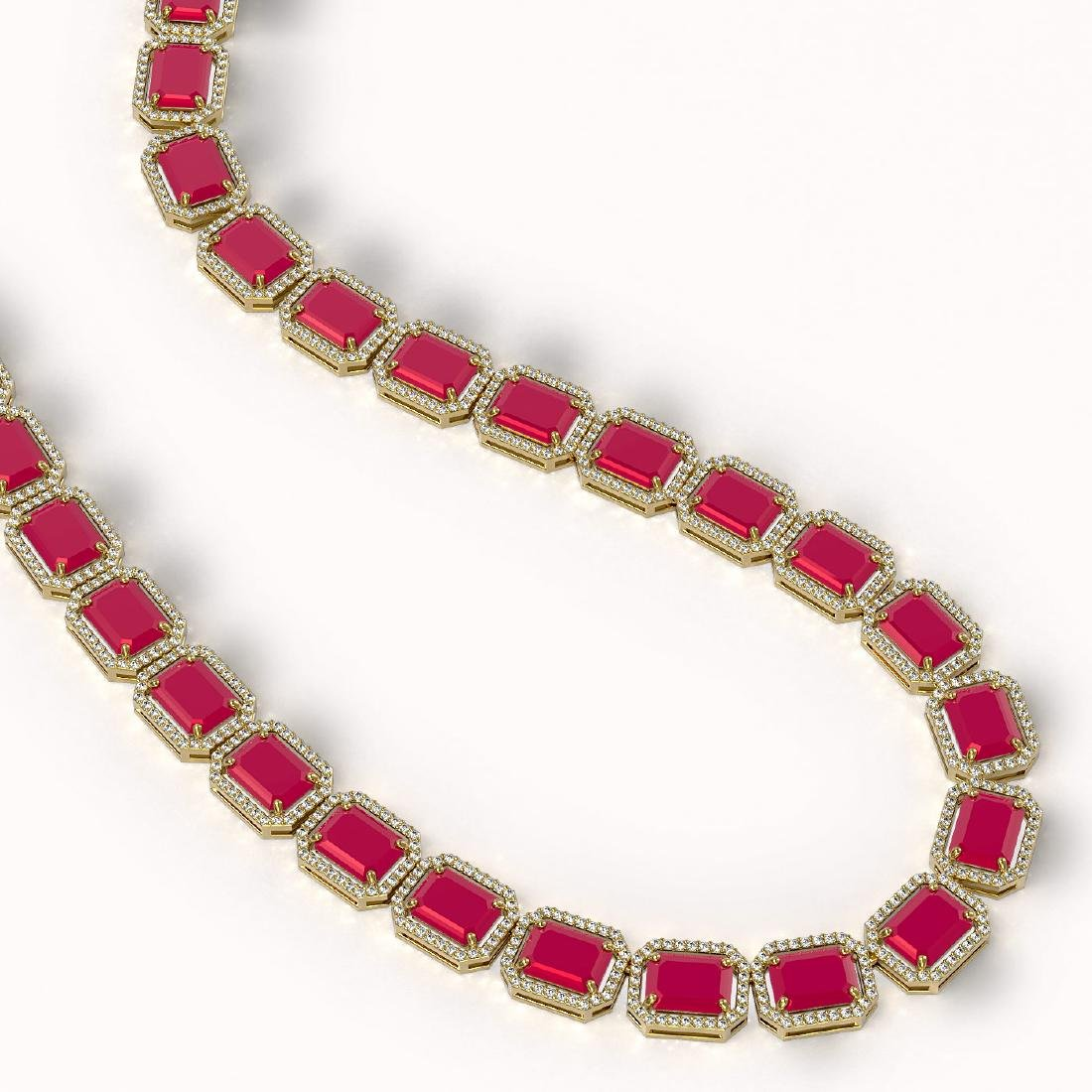 84.94 CTW Ruby & Diamond Halo Necklace 10K Yellow Gold - 2
