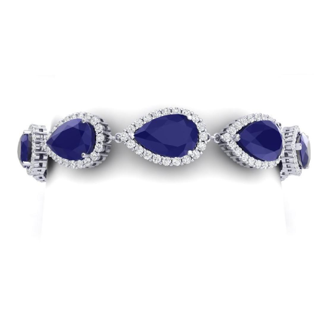 42 CTW Royalty Sapphire & VS Diamond Bracelet 18K White