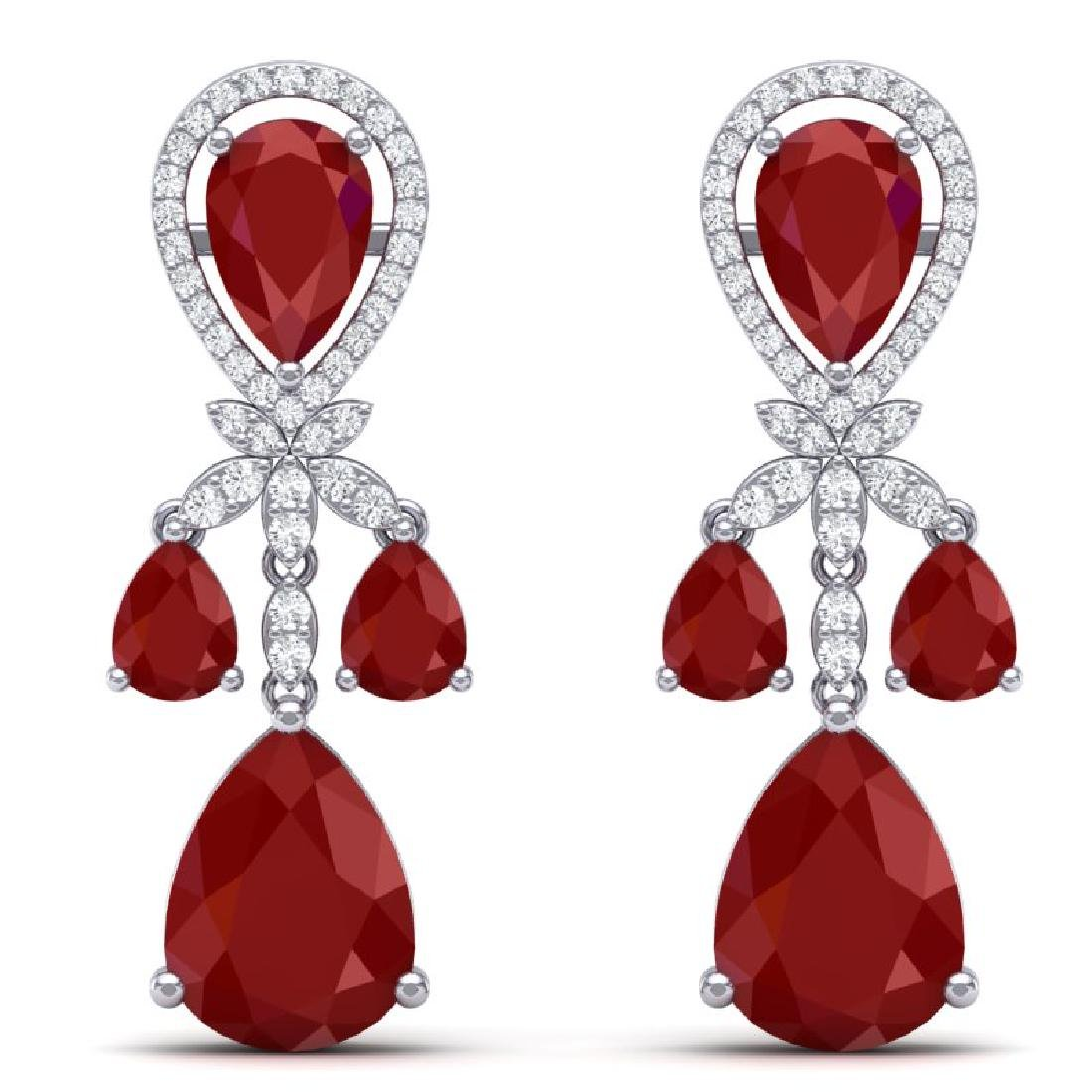 38.29 CTW Royalty Designer Ruby & VS Diamond Earrings