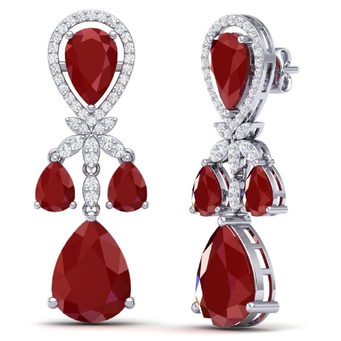 38.29 CTW Royalty Designer Ruby & VS Diamond Earrings - 3