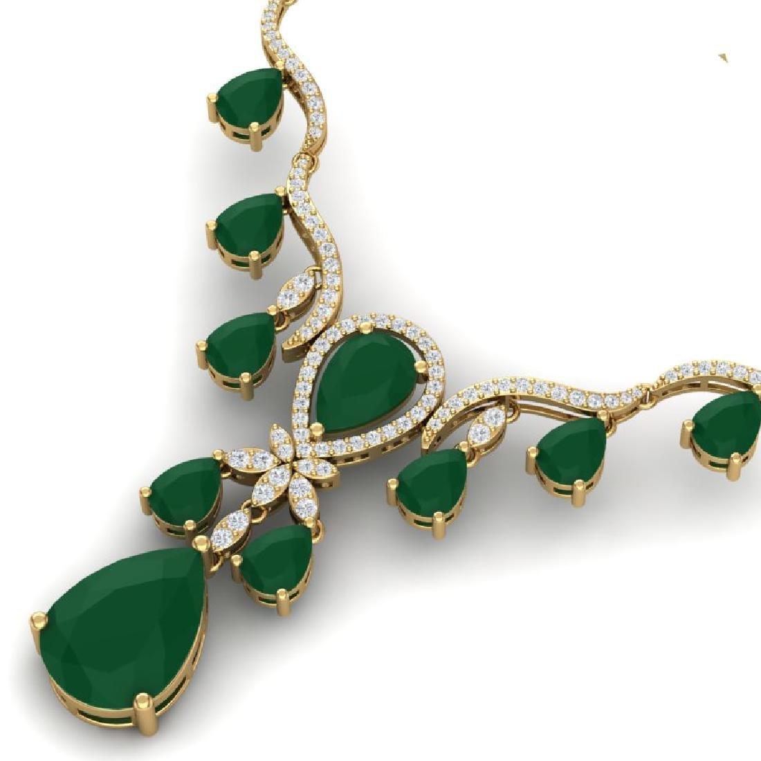 36.14 CTW Royalty Emerald & VS Diamond Necklace 18K - 2