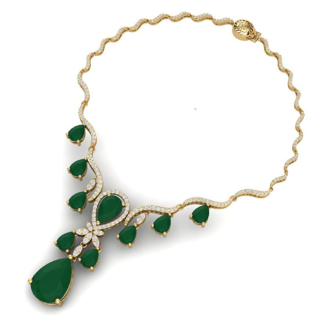 36.14 CTW Royalty Emerald & VS Diamond Necklace 18K - 3