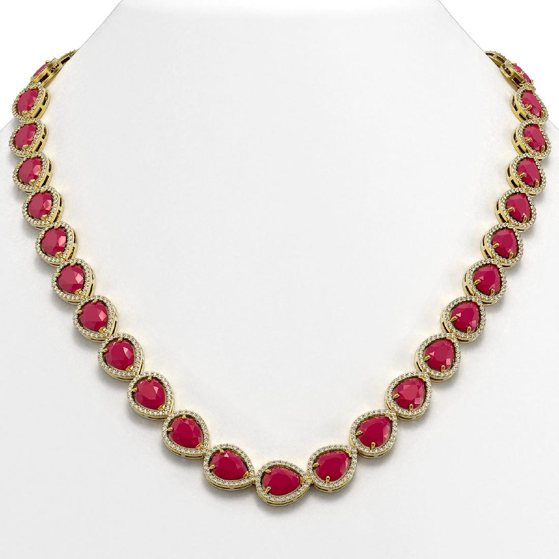 64.01 CTW Ruby & Diamond Halo Necklace 10K Yellow Gold