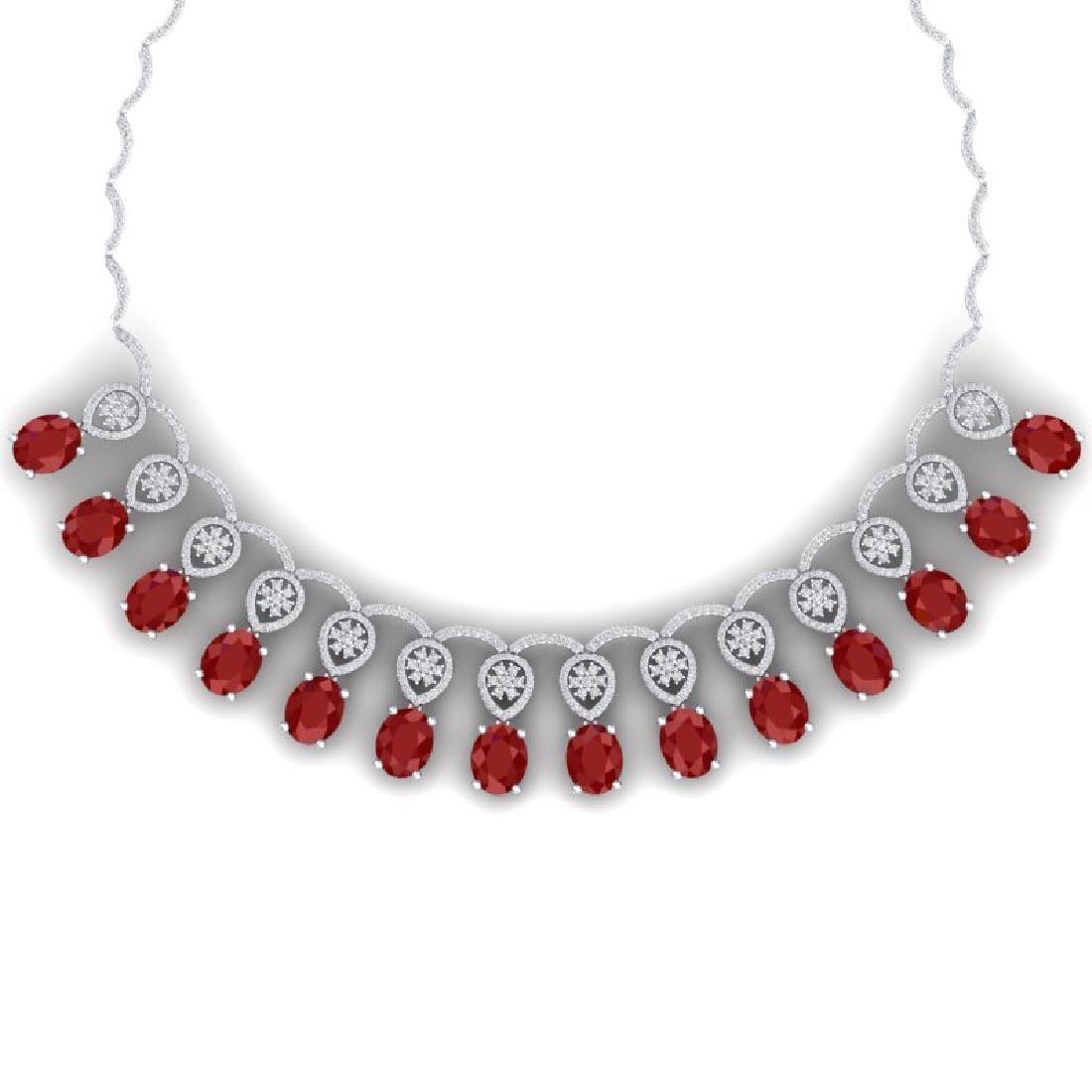 54.05 CTW Royalty Ruby & VS Diamond Necklace 18K White