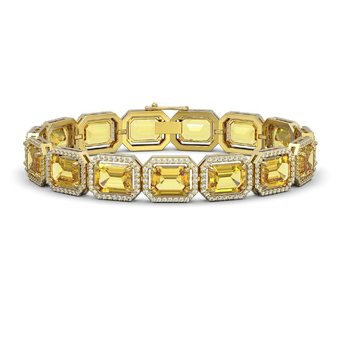 34.91 CTW Fancy Citrine & Diamond Halo Bracelet 10K