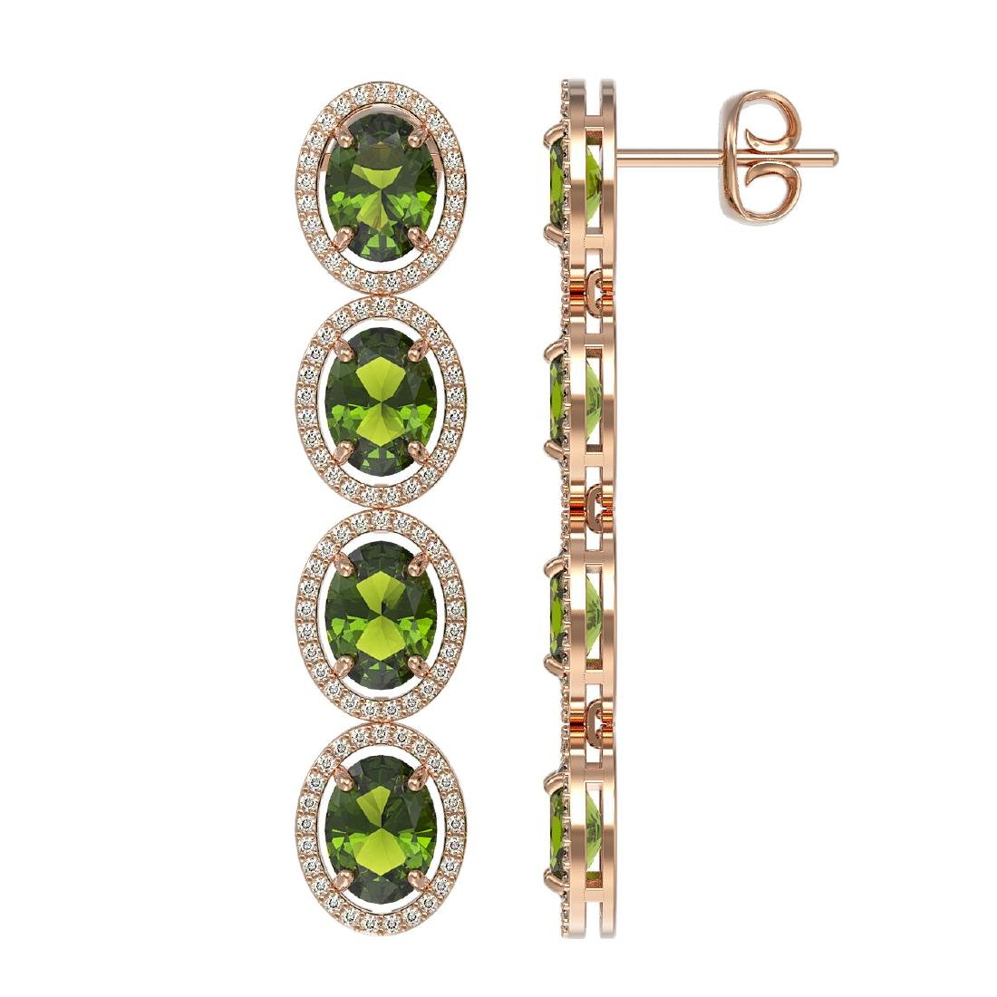 11.8 CTW Tourmaline & Diamond Halo Earrings 10K Rose - 2