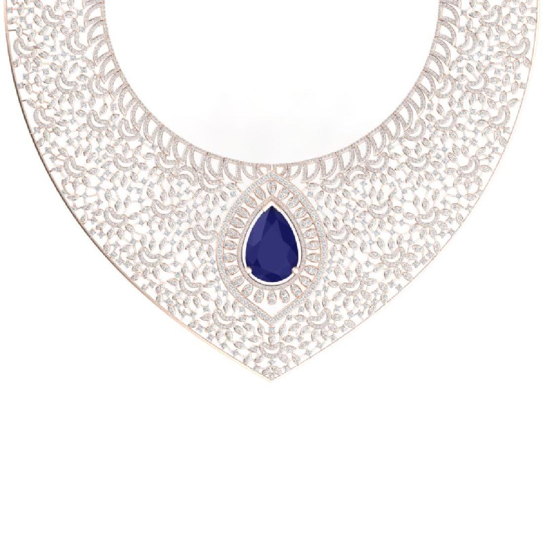 63.93 CTW Royalty Sapphire & VS Diamond Necklace 18K - 2
