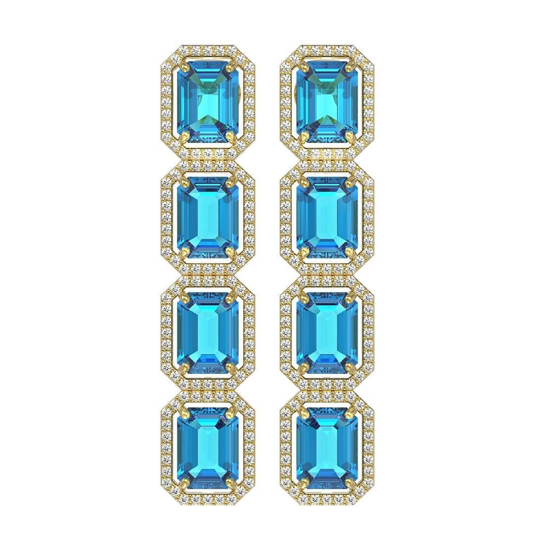 18.99 CTW Swiss Topaz & Diamond Halo Earrings 10K