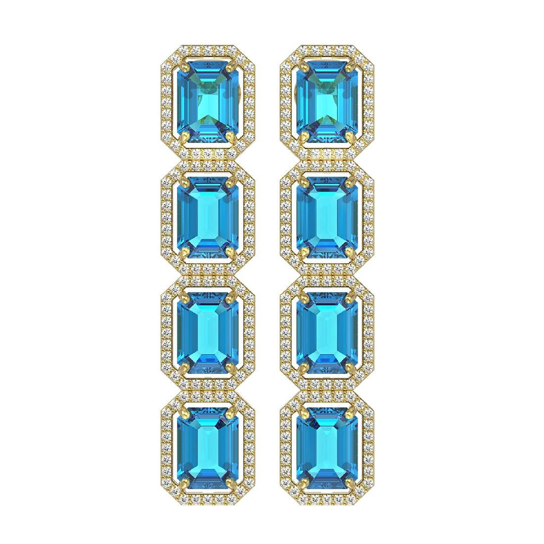 18.99 CTW Swiss Topaz & Diamond Halo Earrings 10K