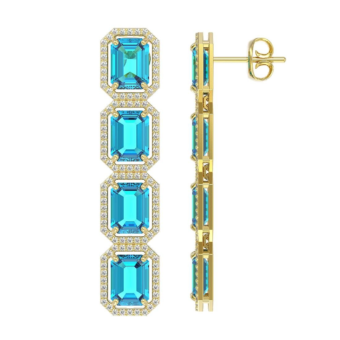 18.99 CTW Swiss Topaz & Diamond Halo Earrings 10K - 2