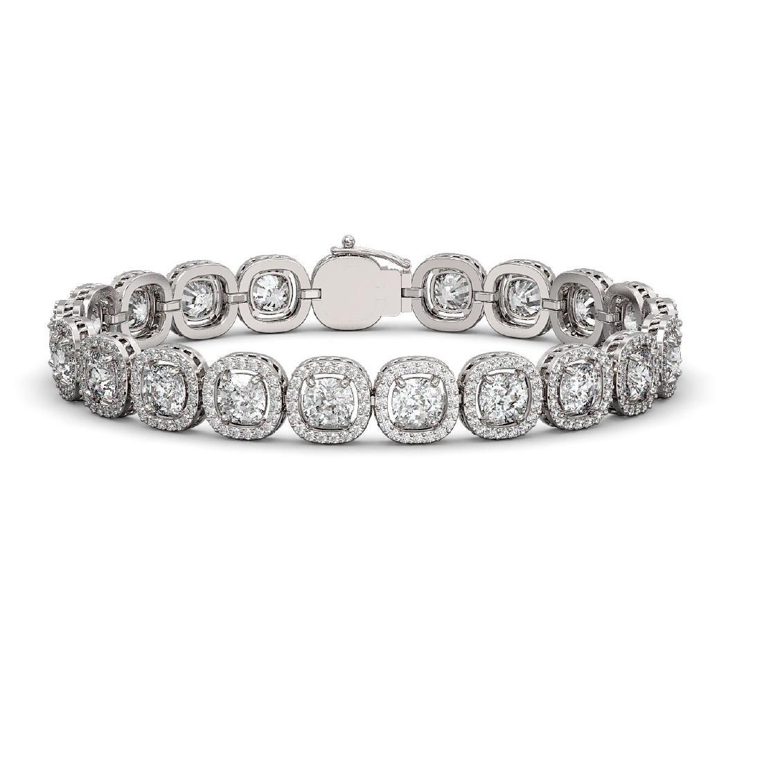 16.54 CTW Cushion Diamond Designer Bracelet 18K White