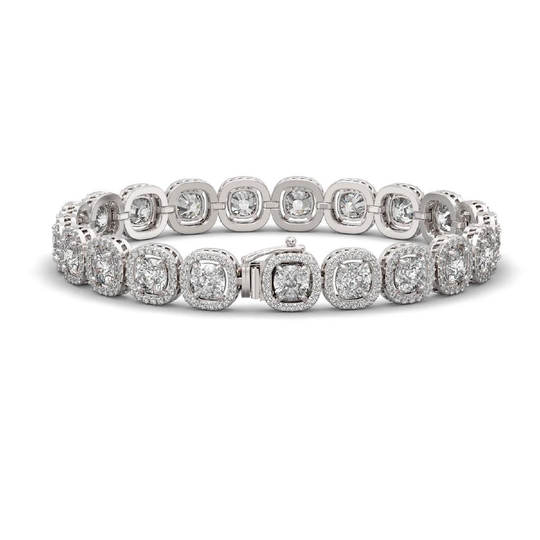 16.54 CTW Cushion Diamond Designer Bracelet 18K White - 2