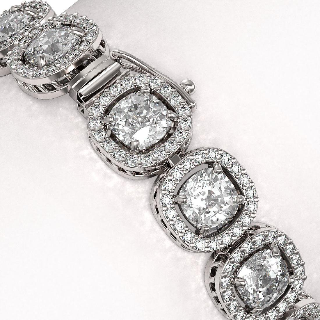 16.54 CTW Cushion Diamond Designer Bracelet 18K White - 3