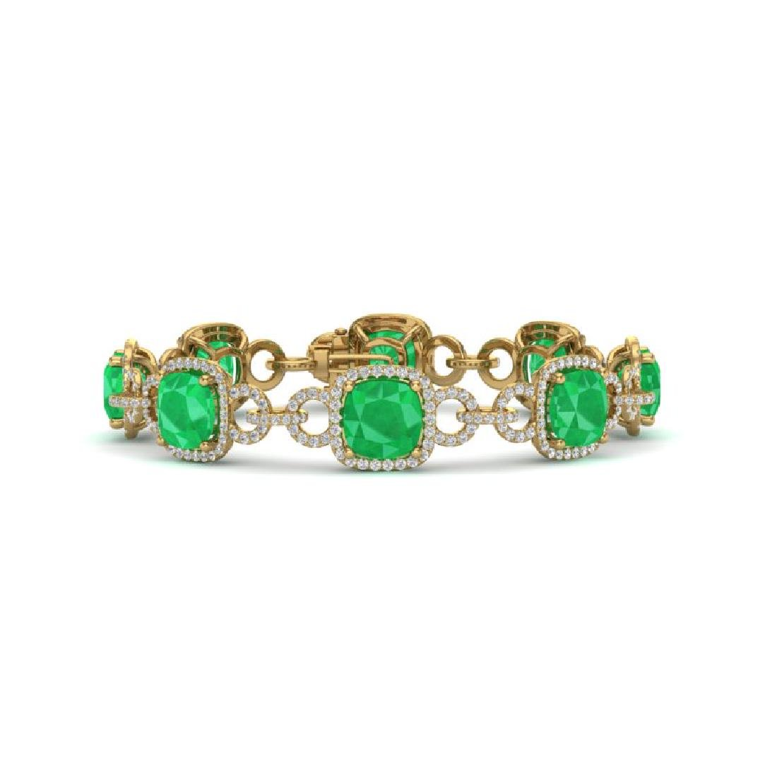 25 CTW Emerald & VS/SI Diamond Bracelet 14K Yellow Gold