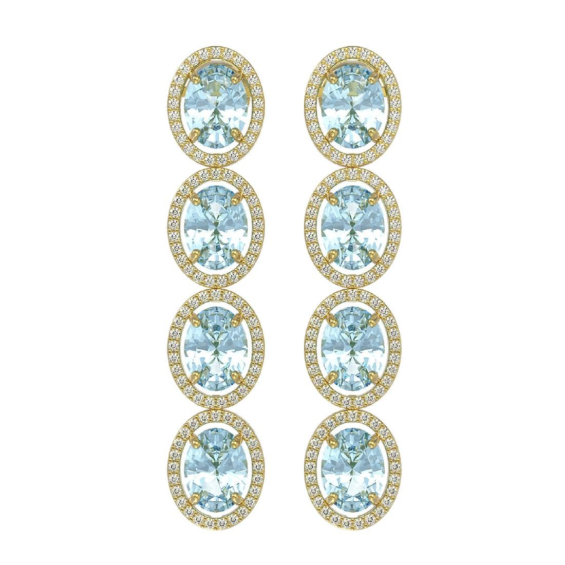 11.72 CTW Aquamarine & Diamond Halo Earrings 10K Yellow