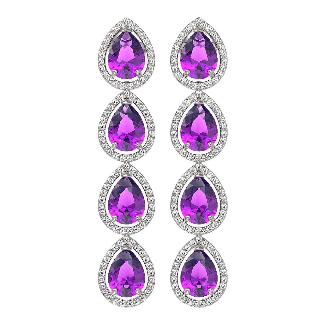 10.85 CTW Amethyst & Diamond Halo Earrings 10K White