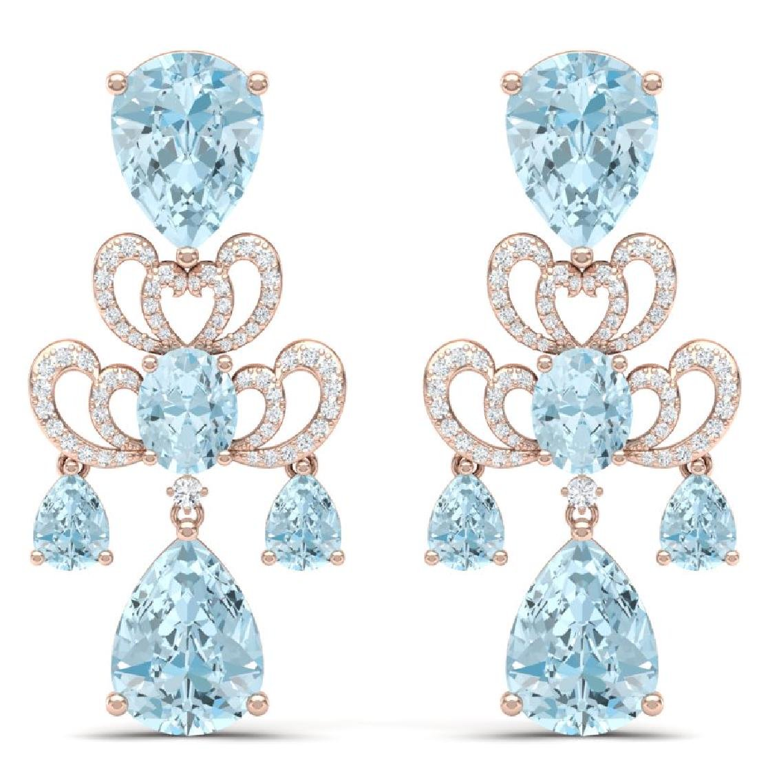 60.32 CTW Royalty Sky Topaz & VS Diamond Earrings 18K