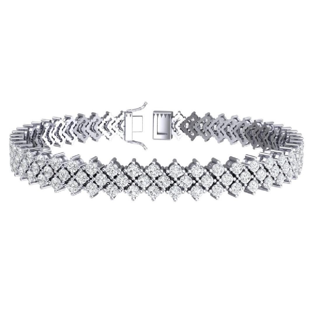 10 CTW Certified SI/I Diamond Bracelet 18K White Gold - 3