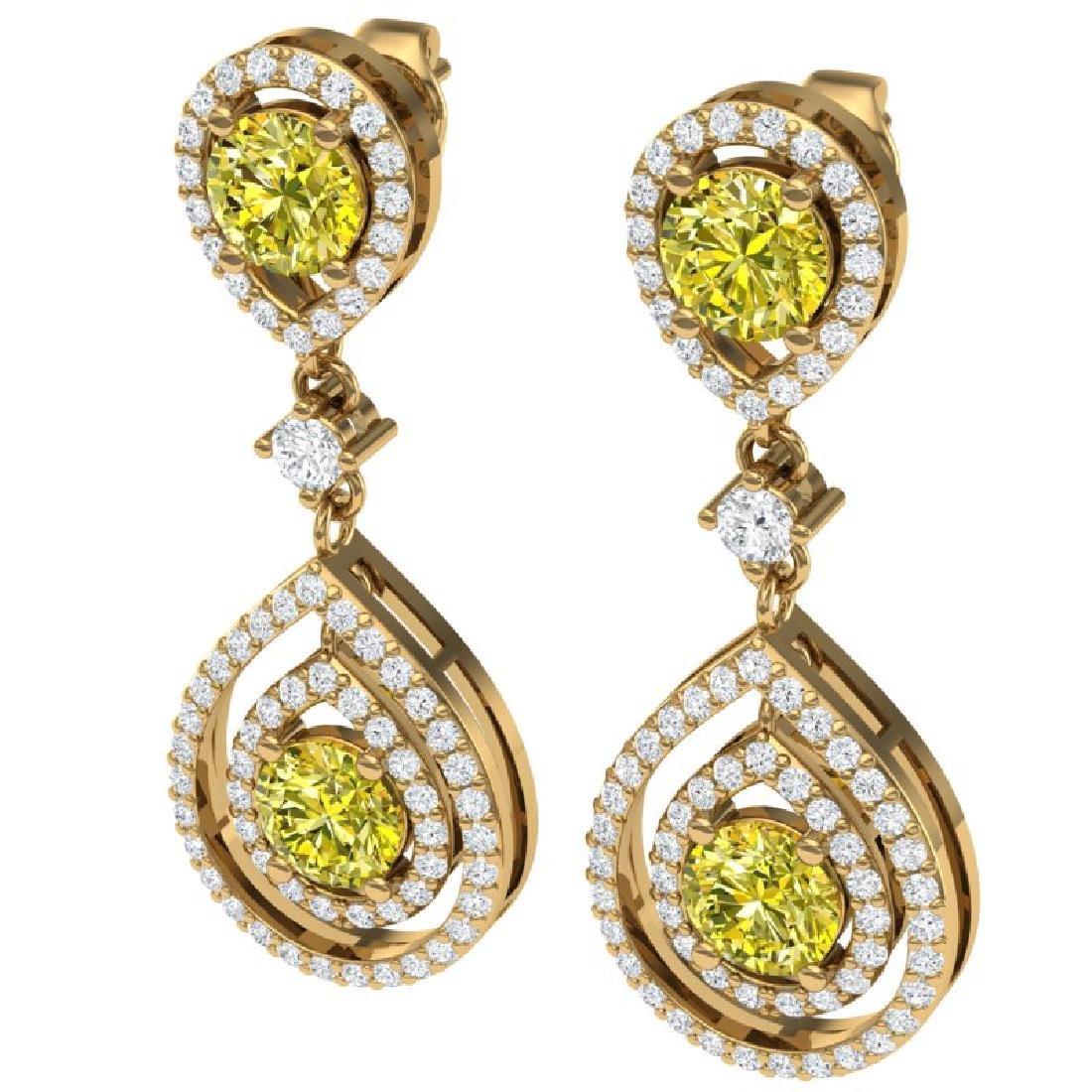 3.9 CTW Fancy Yellow SI Diamond Earrings 18K Yellow
