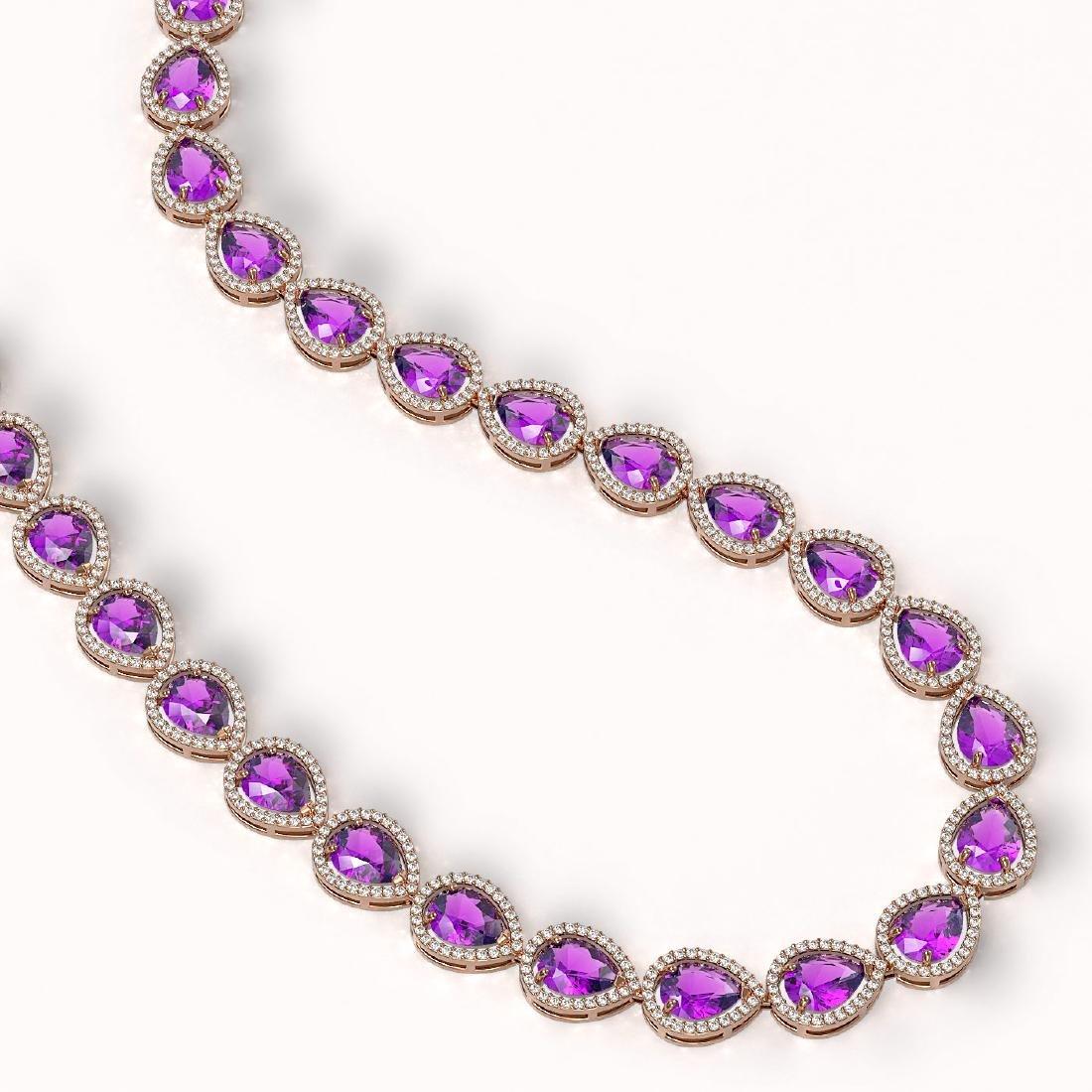 43.2 CTW Amethyst & Diamond Halo Necklace 10K Rose Gold - 2