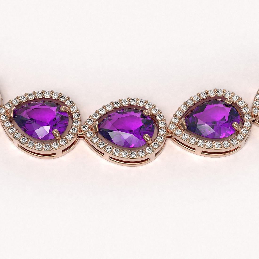 43.2 CTW Amethyst & Diamond Halo Necklace 10K Rose Gold - 3