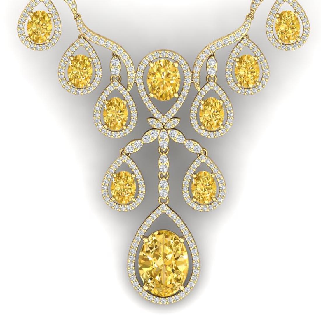 36.51 CTW Royalty Canary Citrine & VS Diamond Necklace