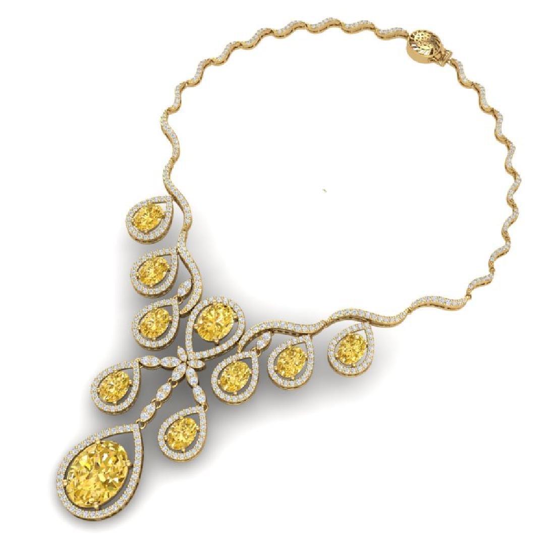 36.51 CTW Royalty Canary Citrine & VS Diamond Necklace - 3