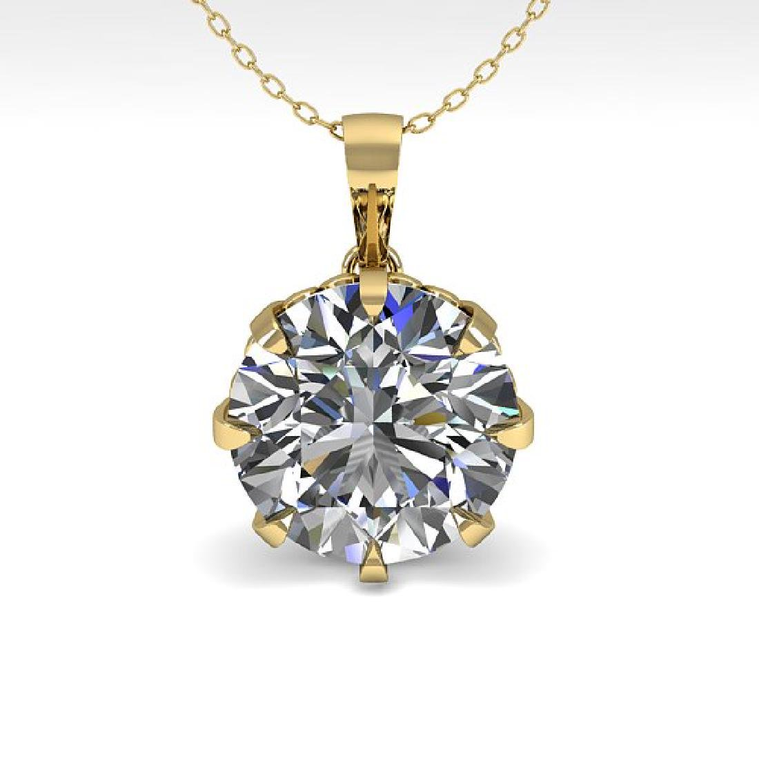 2 CTW VS/SI Diamond Solitaire Necklace 14K Yellow Gold - 2