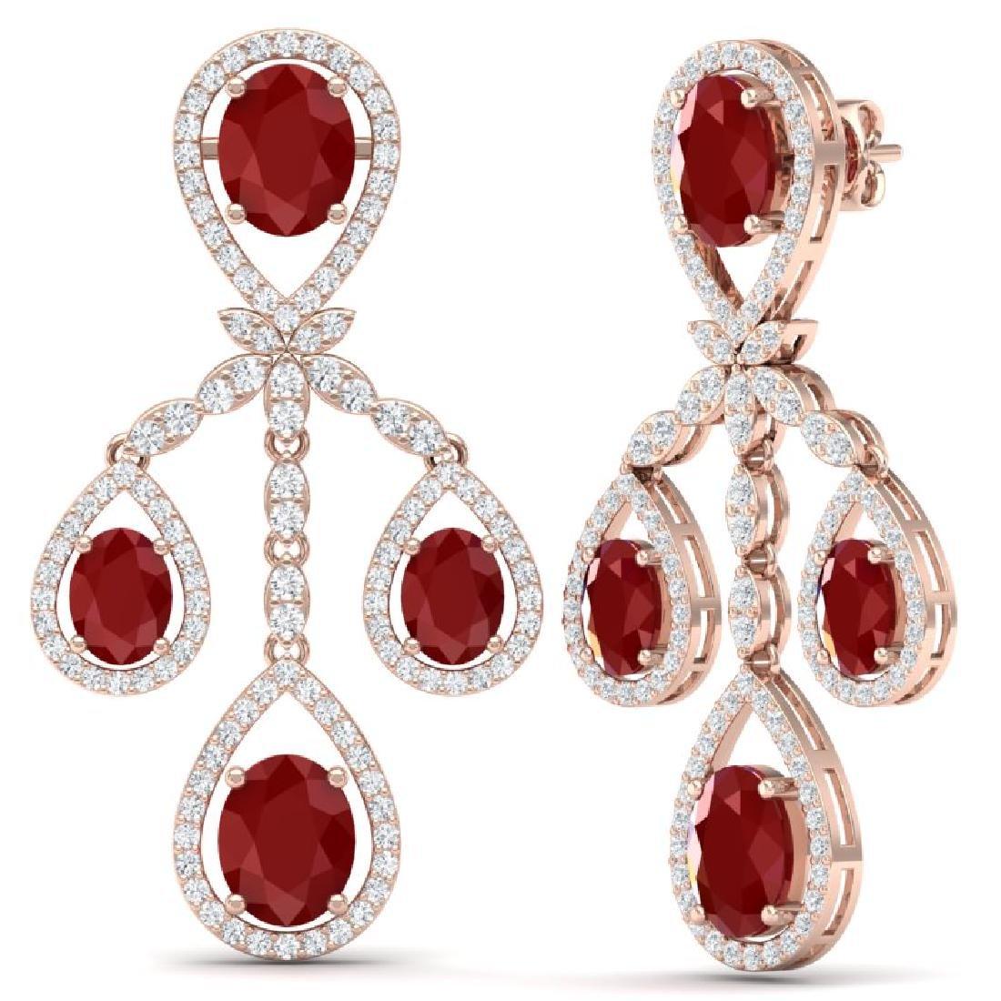 25.08 CTW Royalty Designer Ruby & VS Diamond Earrings - 2
