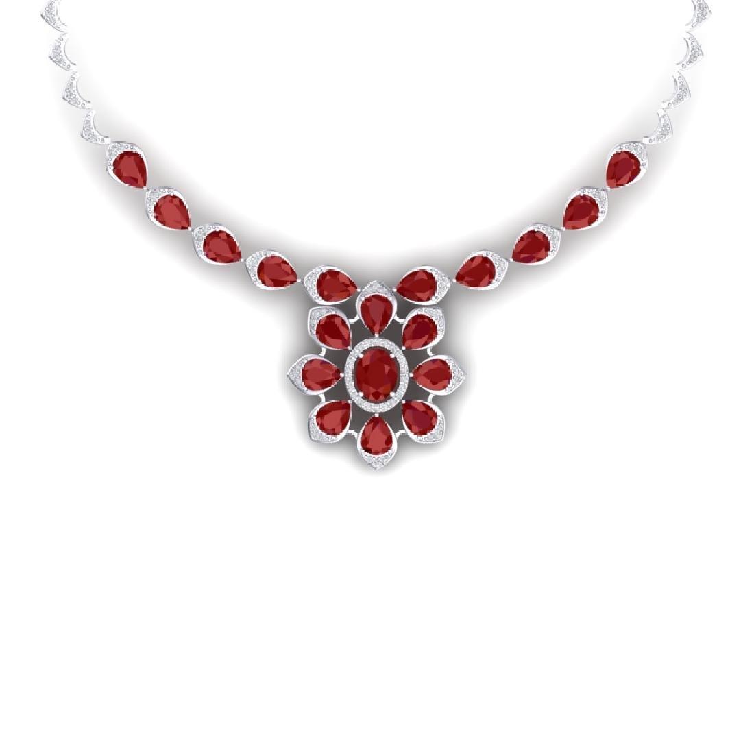30.70 CTW Royalty Ruby & VS Diamond Necklace 18K White