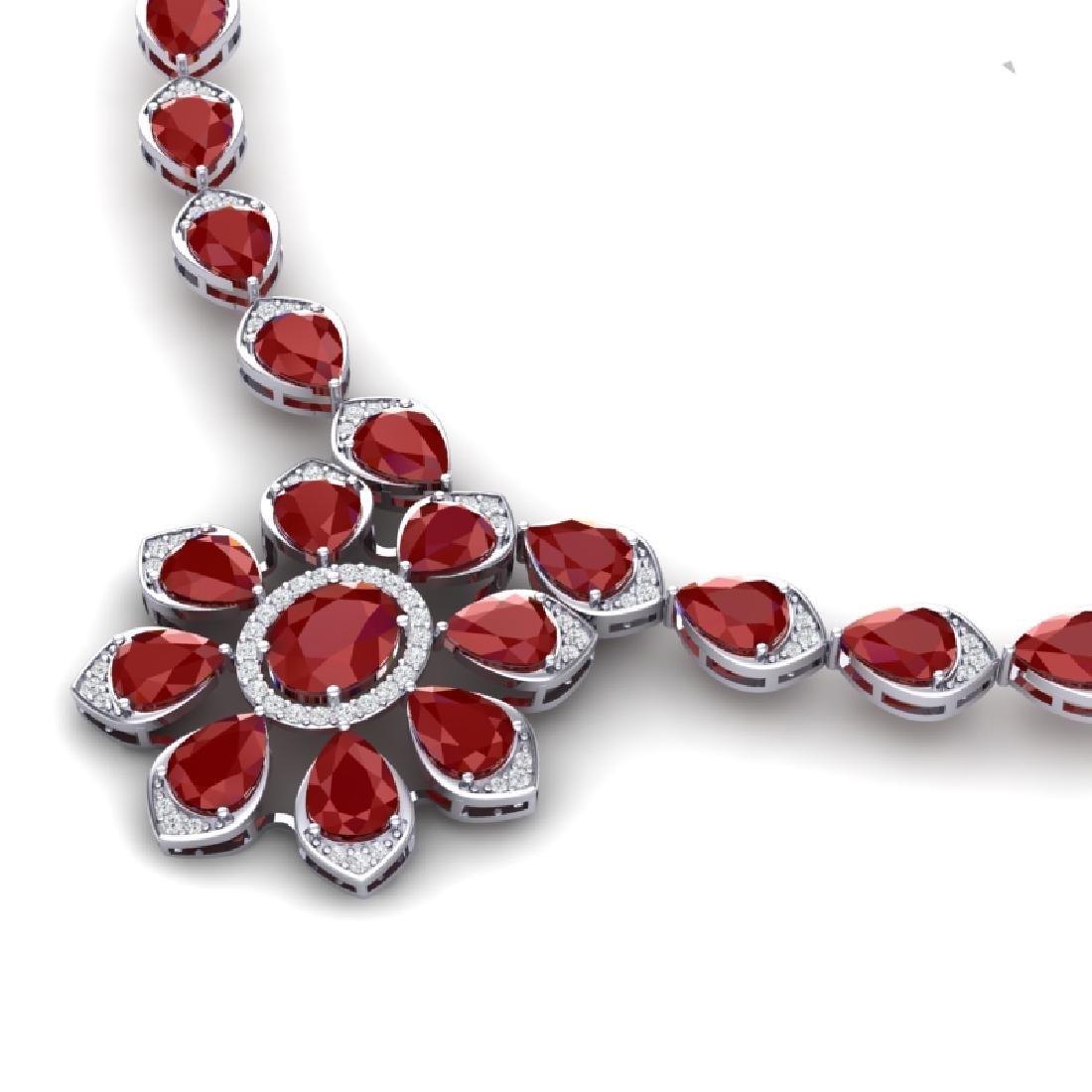 30.70 CTW Royalty Ruby & VS Diamond Necklace 18K White - 2