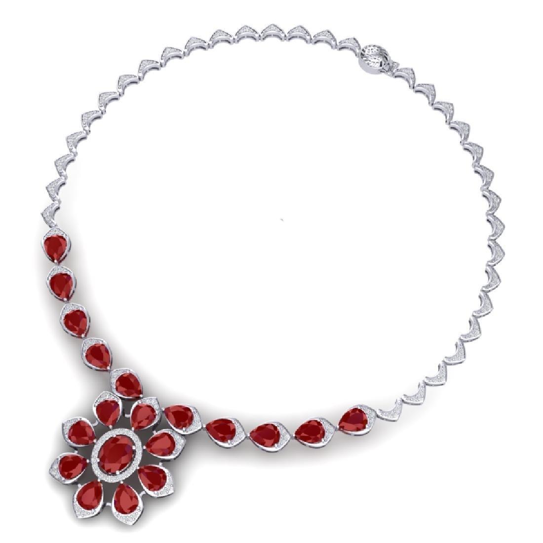30.70 CTW Royalty Ruby & VS Diamond Necklace 18K White - 3