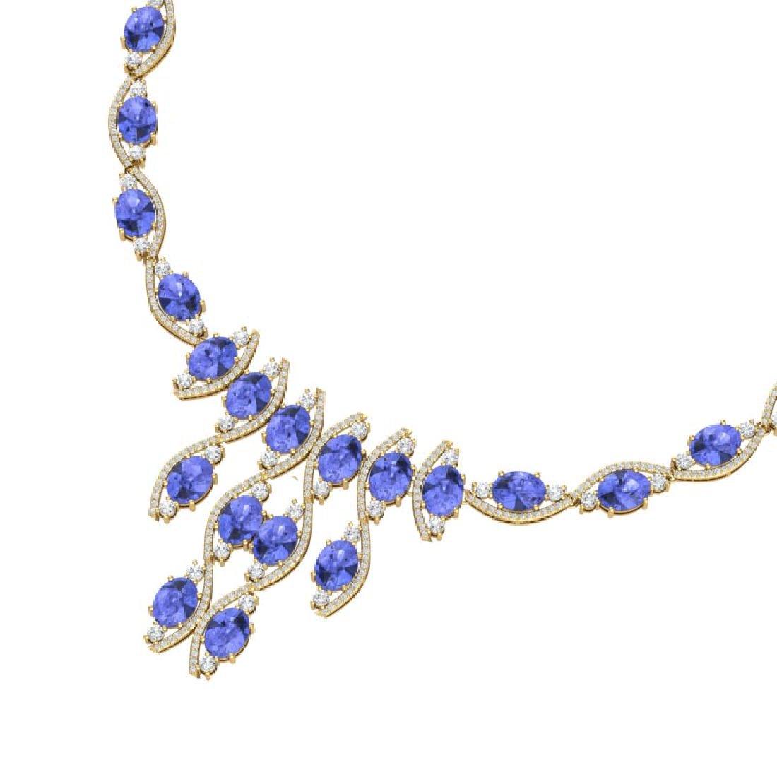 65.60 CTW Royalty Tanzanite & VS Diamond Necklace 18K