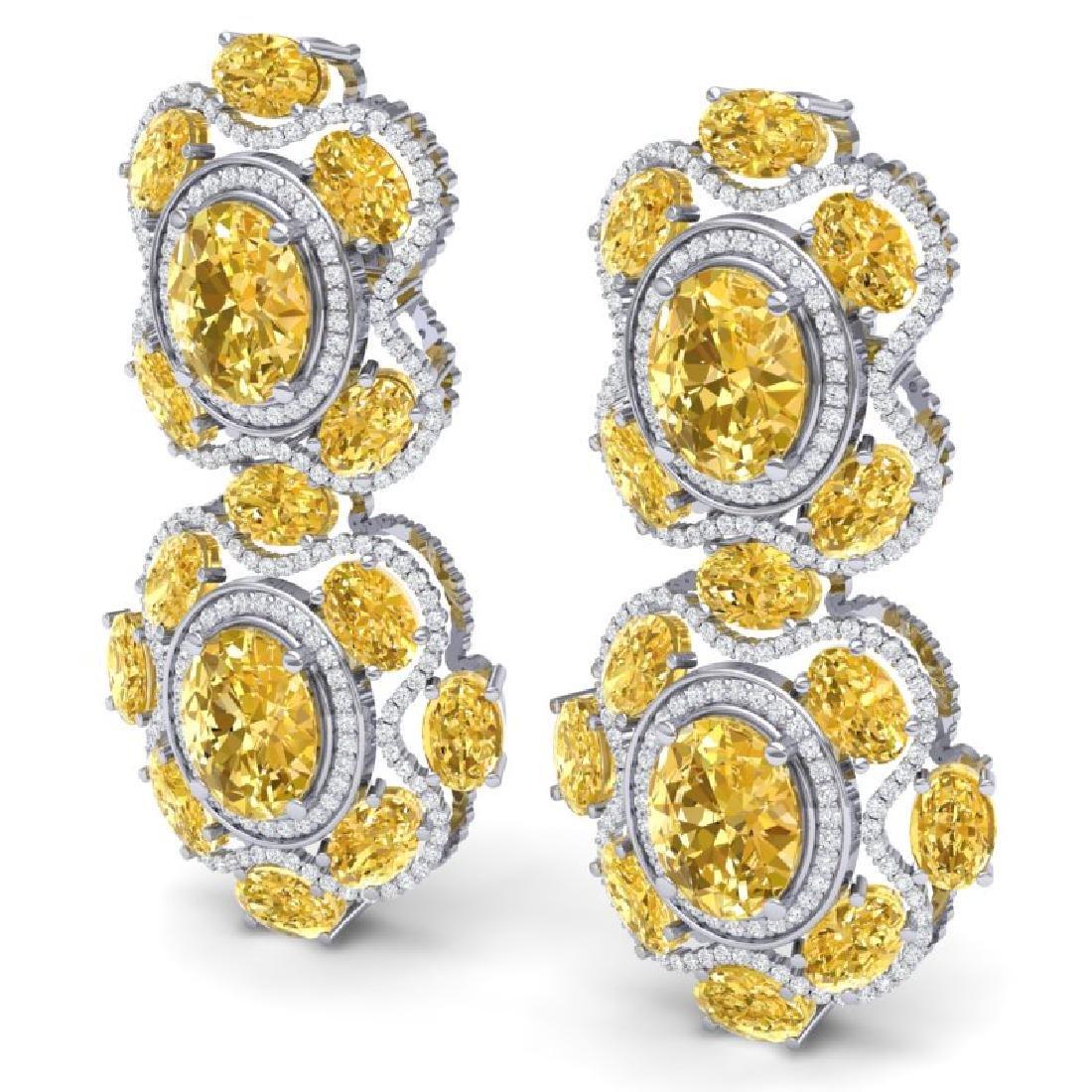 29.21 CTW Royalty Canary Citrine & VS Diamond Earrings - 2