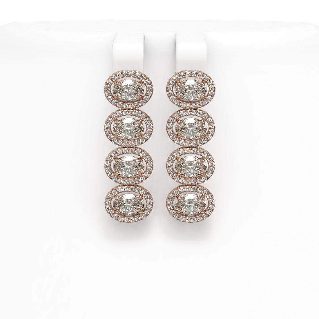 5.92 CTW Oval Diamond Designer Earrings 18K Rose Gold