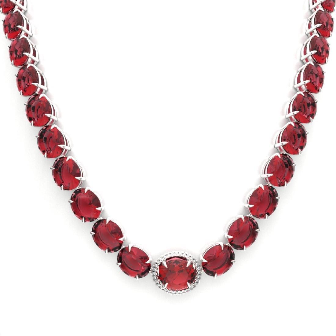 145 CTW Pink Tourmaline & VS/SI Diamond Necklace 14K - 2