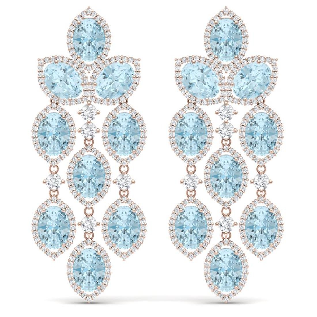 23.76 CTW Royalty Sky Topaz & VS Diamond Earrings 18K