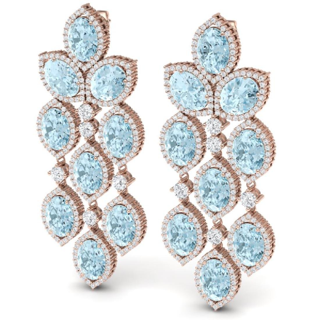 23.76 CTW Royalty Sky Topaz & VS Diamond Earrings 18K - 2